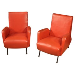 Pair of 20th Century Red Faux Leather Italian Design Armchairs, 1970