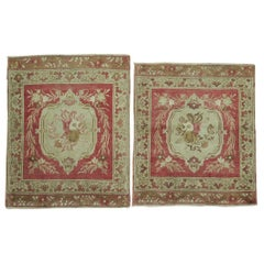 Pair of 20th century Red Rose Turkish Sivas Floral Rugs
