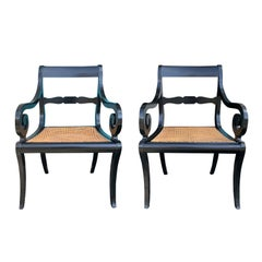 Pair of 20th Century Regency Style Black Armchairs with Cane Seats, circa 1900
