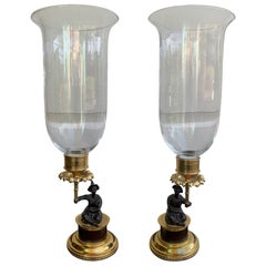 Pair of 20th Century Regency Style Chinoiserie Gilt Bronze Candleholders
