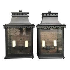 Pair of 20th Century Regency Style Tole Wall Mount Lanterns