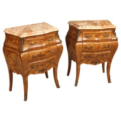 Pair of 20th Century Rosewood with Marble-Top French Louis XV Nightstands, 1950