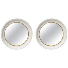 Pair of 20th Century Round Convex Mirrors with Custom Hand Painted Finish