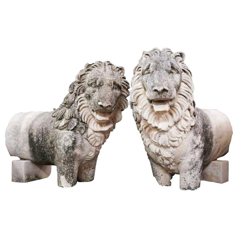 Pair of 19th Century Sandstone Lions For Sale