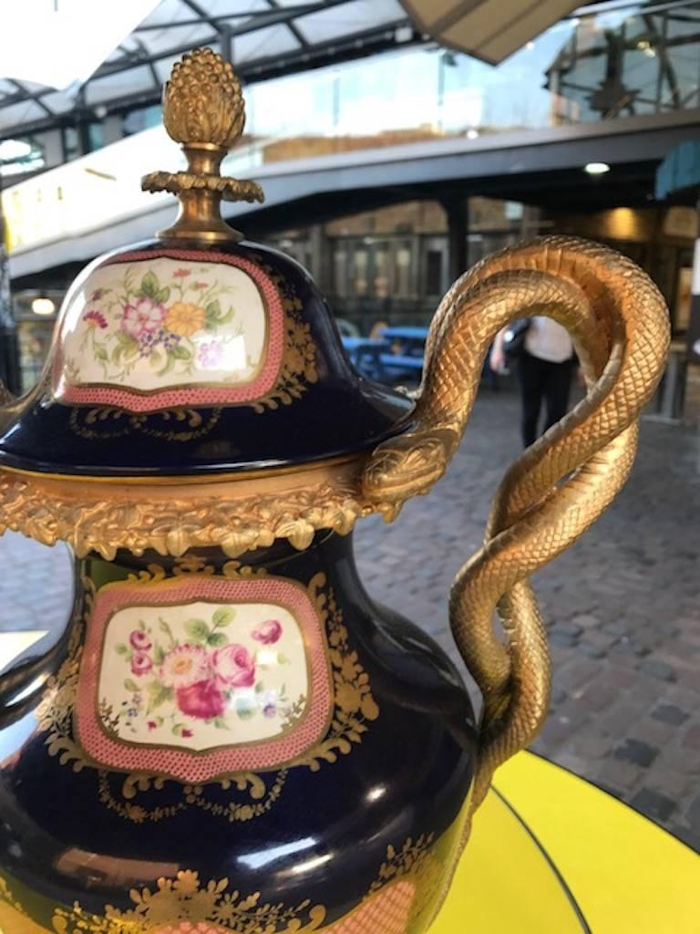 Neoclassical Pair of 20th Century Sevres Style Porcelain Ormolu Vases For Sale