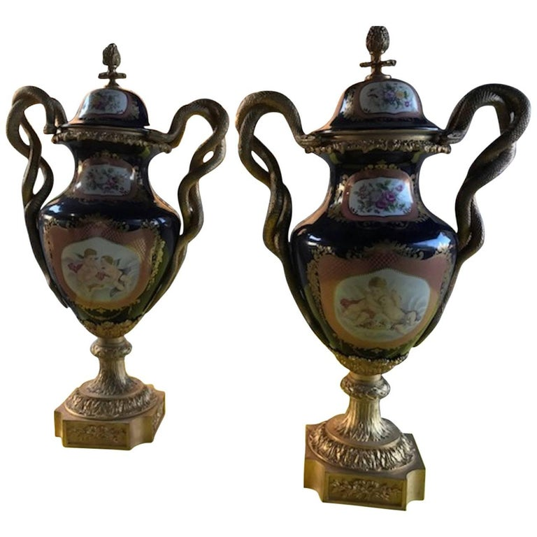 Pair of 20th Century Sevres Style Porcelain Ormolu Vases For Sale