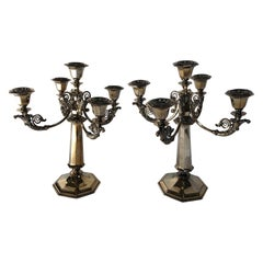 Pair of 20th Century Silver Plate Candelabras