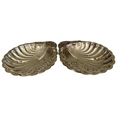 Pair of 20th Century Silver Plated Shell-Shaped Dishes
