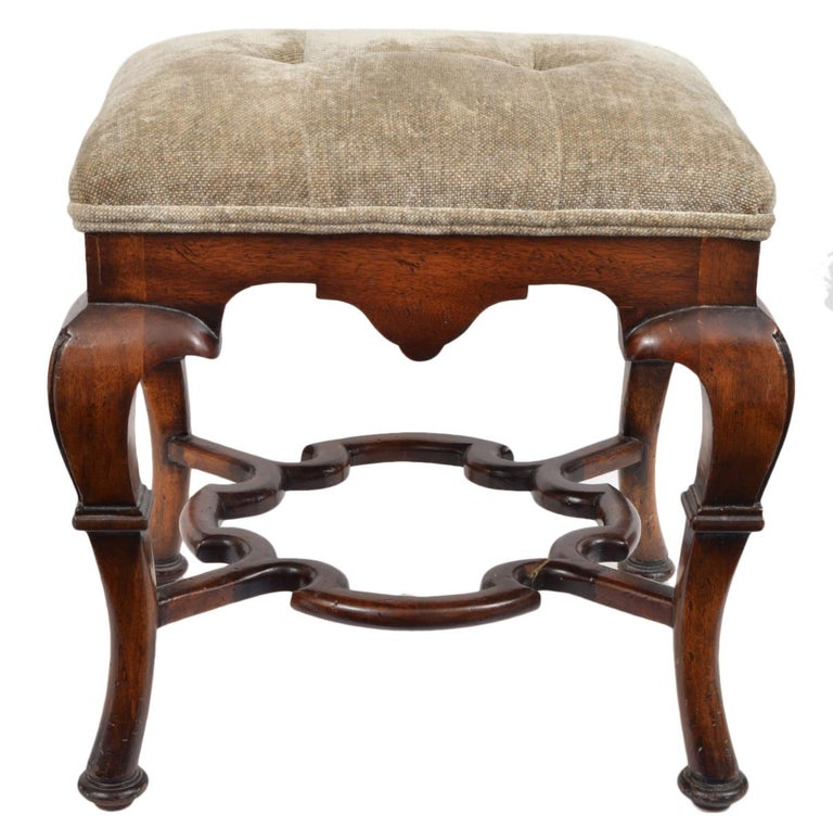 European Pair of 20th Century Spanish Colonial Style Carved Benches or Ottomans For Sale