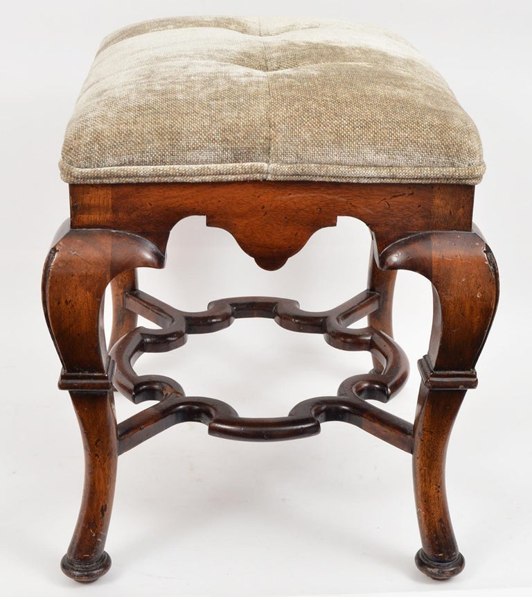 Pair of 20th Century Spanish Colonial Style Carved Benches or Ottomans For Sale 1