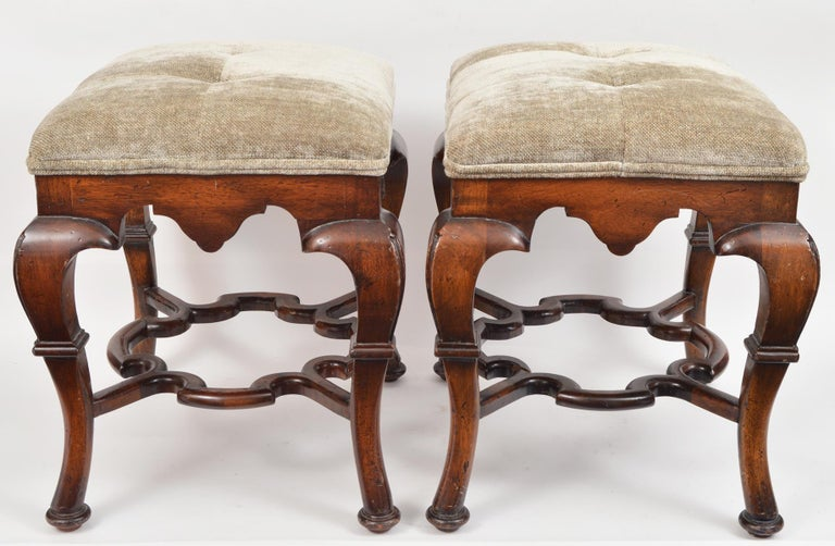 Pair of 20th Century Spanish Colonial Style Carved Benches or Ottomans For Sale 3