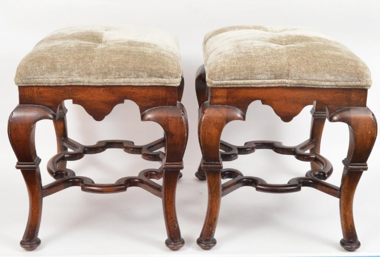 Pair of 20th Century Spanish Colonial Style Carved Benches or Ottomans For Sale 4