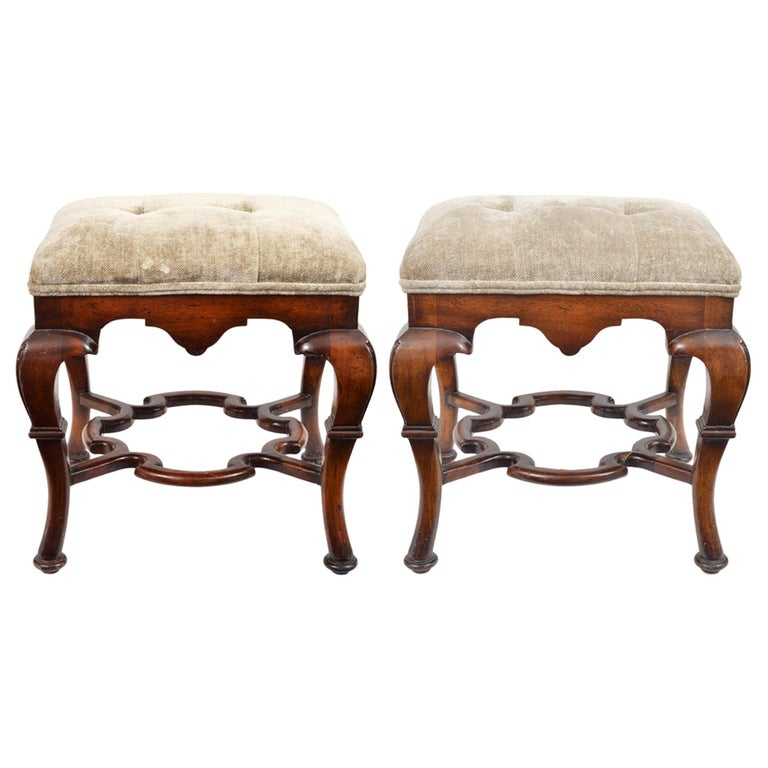 Pair of 20th Century Spanish Colonial Style Carved Benches or Ottomans For Sale