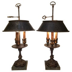 Pair of 20th Century Spanish Itron Bouillotte Lamps