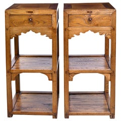 Pair of 20th Century Square Chinese Stands in Oak with Two Shelves and Drawer