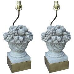 Pair of 20th Century Stone Fruit Basket Lamps on Custom Gilt Bases