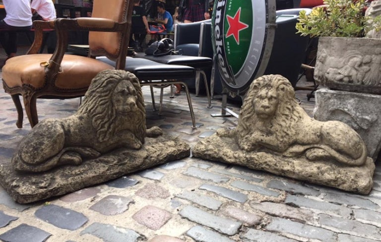 British Pair of 20th Century Stone Lions For Sale