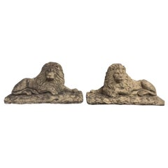 Pair of 20th Century Stone Lions