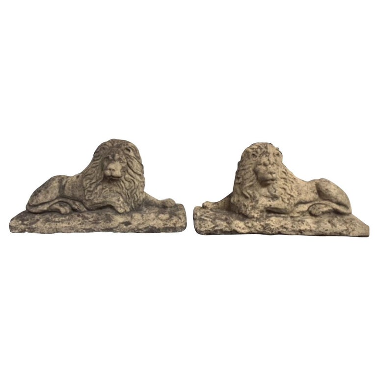 Pair of 20th Century Stone Lions For Sale