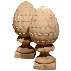 Pair of 20th Century Stone Pineapple Garden Statues / Ornaments