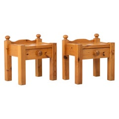 Pair of 20th Century Swedish Nightstands in Solid Pine