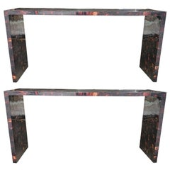 Pair of 20th Century Tessellated Horn Console Tables