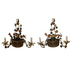 Pair of 20th Century Tole Floral Basket Two-Arm Sconces