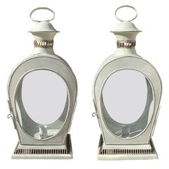 Pair of 20th Century Tole Table Lanterns with Custom Finish