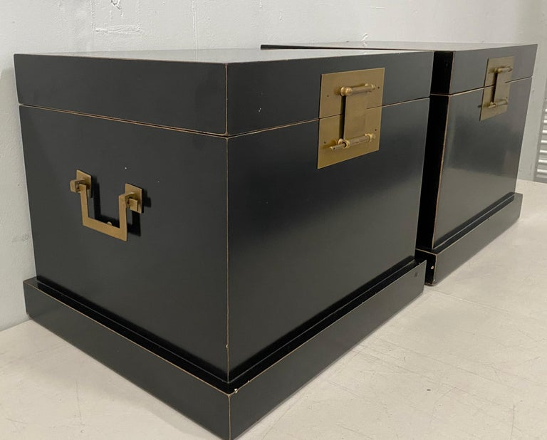 Pair of 20th century traditional vintage Chinese black lacquer wedding chests