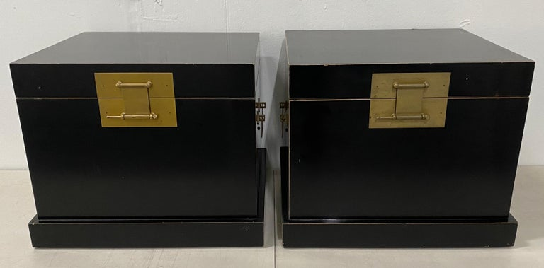 Hand-Crafted Pair of 20th Century Traditional Vintage Chinese Black Lacquer Wedding Chests For Sale