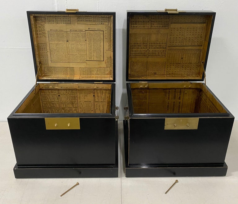 Pair of 20th Century Traditional Vintage Chinese Black Lacquer Wedding Chests In Good Condition For Sale In San Francisco, CA