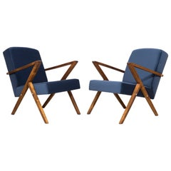 Pair of 20th Century Unique Zet Armchairs, Navy Velvet, 1970s, Poland