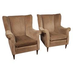 Pair of 20th Century Velvet Italian Design Armchairs, 1970