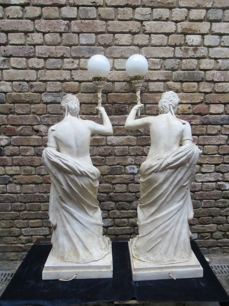Classical Roman Pair of 20th Century Vintage Christopher Wray, Lamps Depicting Roman Women For Sale