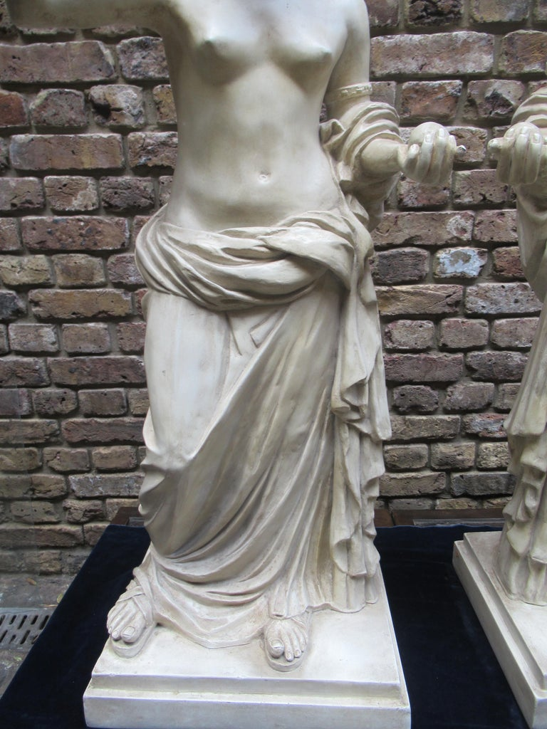 Pair of 20th Century Vintage Christopher Wray, Lamps Depicting Roman Women For Sale 1