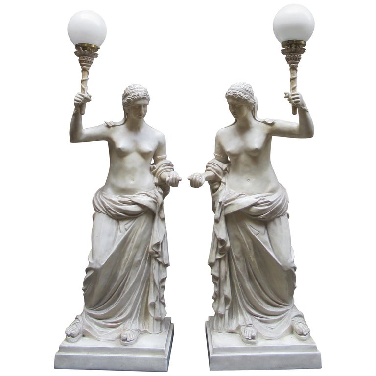 Pair of 20th Century Vintage Christopher Wray, Lamps Depicting Roman Women For Sale