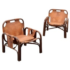 Pair of 20th Century Vittorio Bonacita Styled Brown Leather Sling Chairs