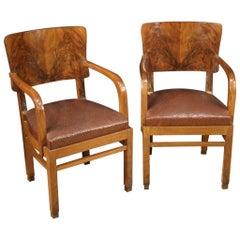 Pair of 20th Century Walnut and Burl Wood Italian Armchairs, 1960