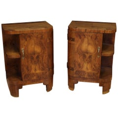 Pair of 20th Century Walnut and Burl Wood Italian Art Deco Nightstands, 1930