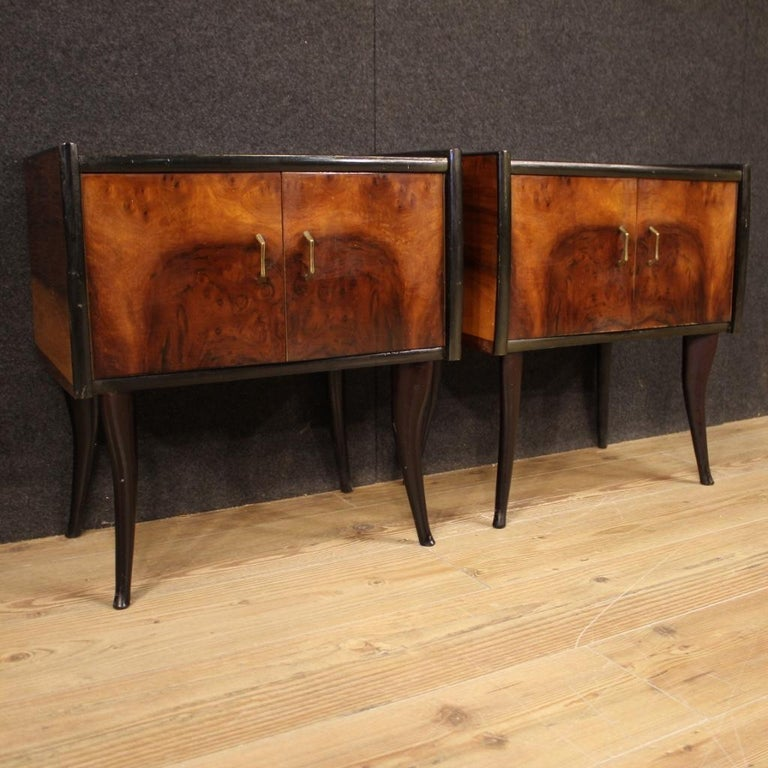 Pair of 20th Century Walnut and Ebonized Wood Italian Design Night Stands, 1960 For Sale 8
