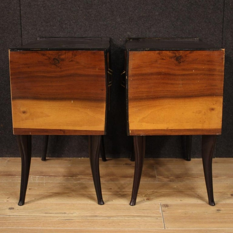 Pair of 20th Century Walnut and Ebonized Wood Italian Design Night Stands, 1960 For Sale 1