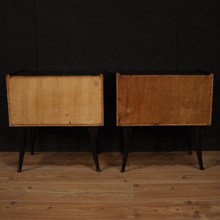 Pair of 20th Century Walnut and Ebonized Wood Italian Design Night Stands, 1960 For Sale 2