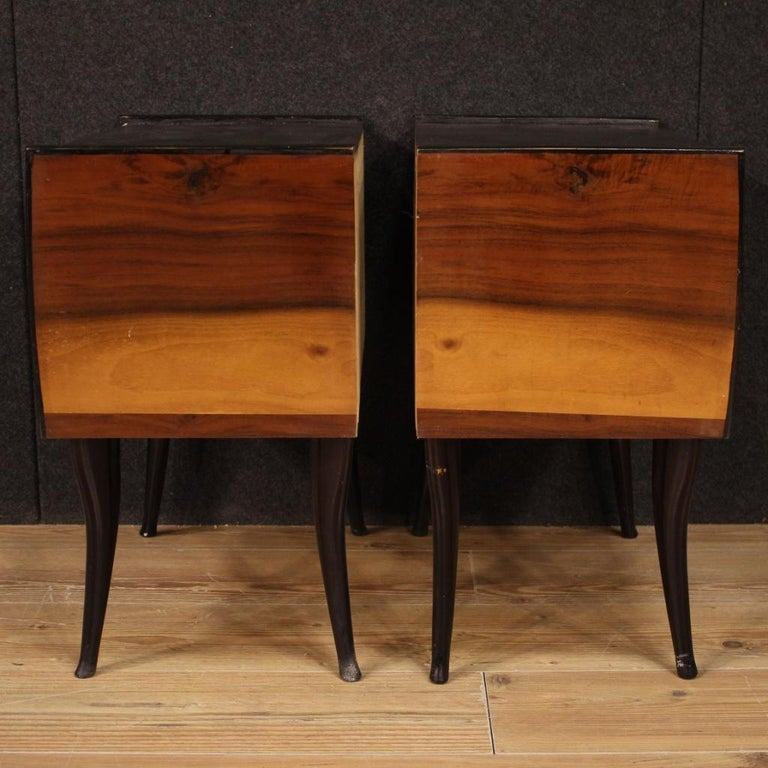 Pair of 20th Century Walnut and Ebonized Wood Italian Design Night Stands, 1960 For Sale 3