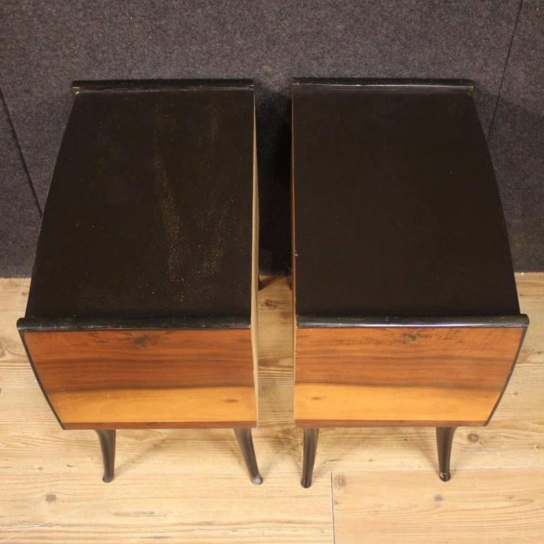 Pair of 20th Century Walnut and Ebonized Wood Italian Design Night Stands, 1960 For Sale 4