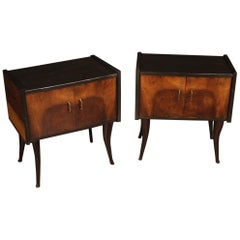 Pair of 20th Century Walnut and Ebonized Wood Italian Design Night Stands, 1960