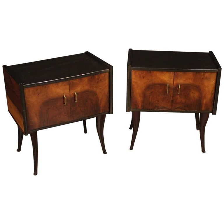 Pair of 20th Century Walnut and Ebonized Wood Italian Design Night Stands, 1960 For Sale