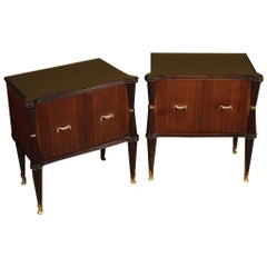 Pair of 20th Century Walnut Beech and Fruitwood Italian Design Bedside Tables