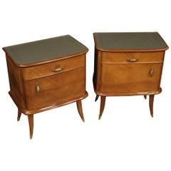 Pair of 20th Century Walnut Beech and Maple Wood Italian Design Bedside Tables