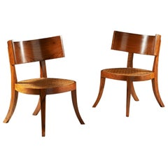 Pair of 20th Century Walnut Klismos Chairs with Caned Seats