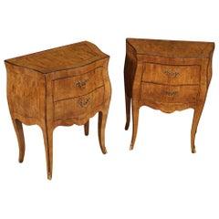 Pair of 20th Century Walnut, Maple and Ebonized Wood Italian Nightstands, 1950
